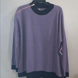 Purple banded sweatshirt with zipper detail! NWT
